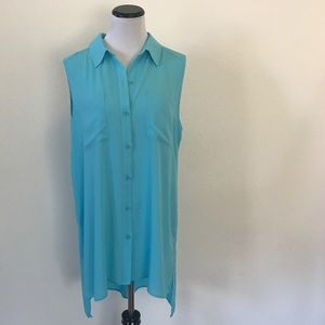 CHICO'S HIGH LOW SHIRT DRESS, TURQUOISE, SIZE 2